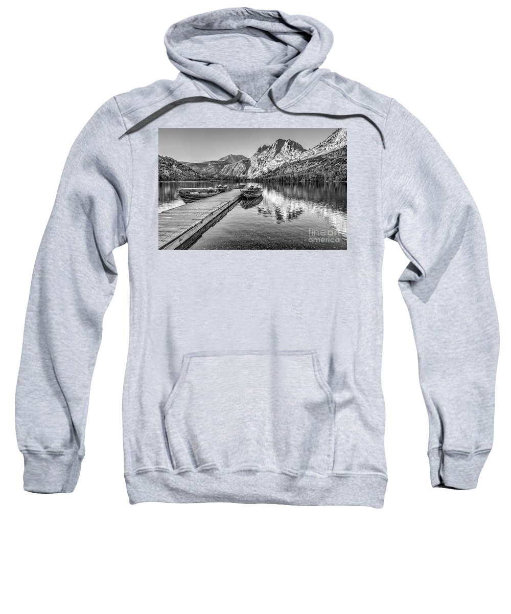 Black And White Sweatshirt featuring the photograph Silver Lake by Beth Sargent