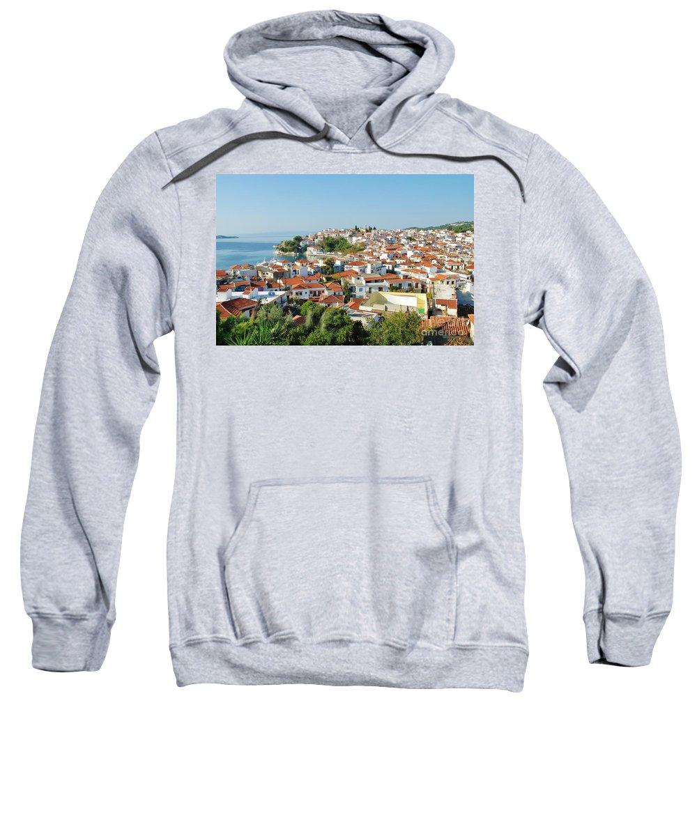 Skiathos Sweatshirt featuring the photograph Skiathos Harbour In Greece by David Fowler
