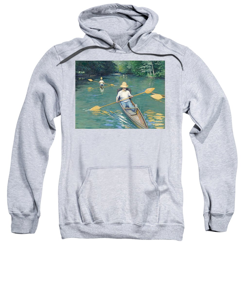 Impressionist; Rowing; Boat; River; Male; Leisure; Summer; Sport; Water; Reflection; Hat Sweatshirt featuring the painting Skiffs by Gustave Caillebotte