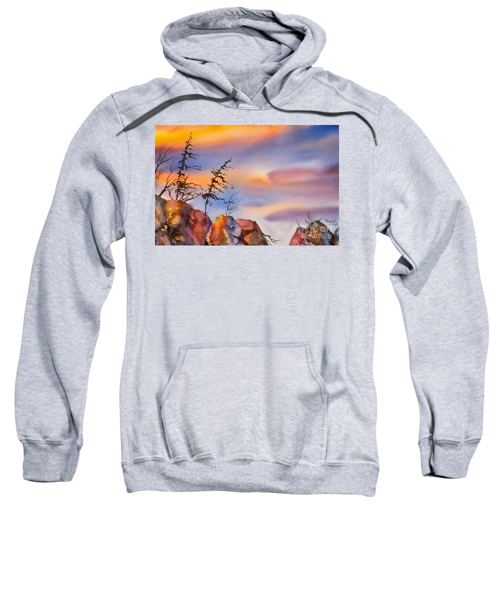 Skinny Trees Sweatshirt featuring the painting Skinny Trees Windy Day by Teresa Ascone