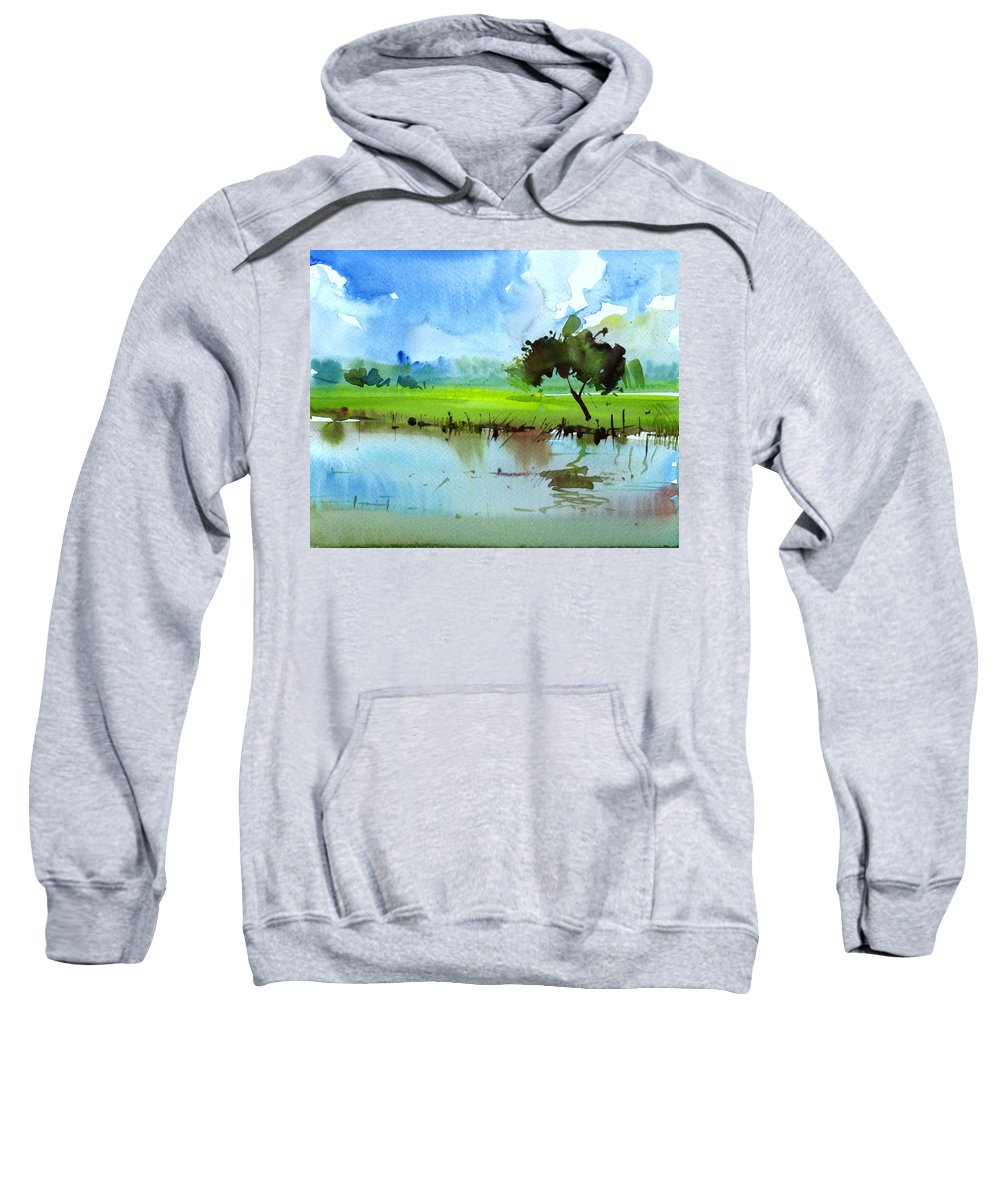 Nature Sweatshirt featuring the painting Sky N Farmland by Anil Nene