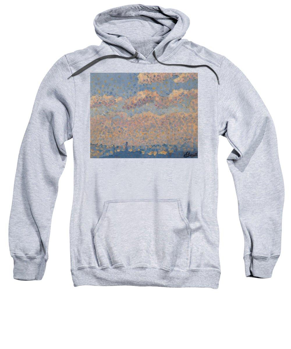 Ciel Sur La Ville; Blue Sky; Clouds; Landscape; Heavens; Pointillist; 19th; 20th; Skyline; Cityscape Sweatshirt featuring the painting Sky Over The City by Louis Hayet