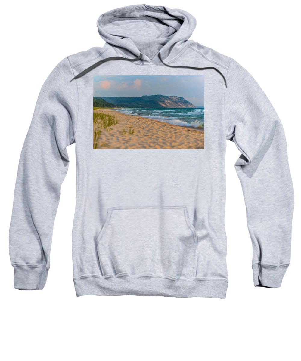 Clouds Sweatshirt featuring the photograph Sleeping Bear Dunes At Sunset by Sebastian Musial