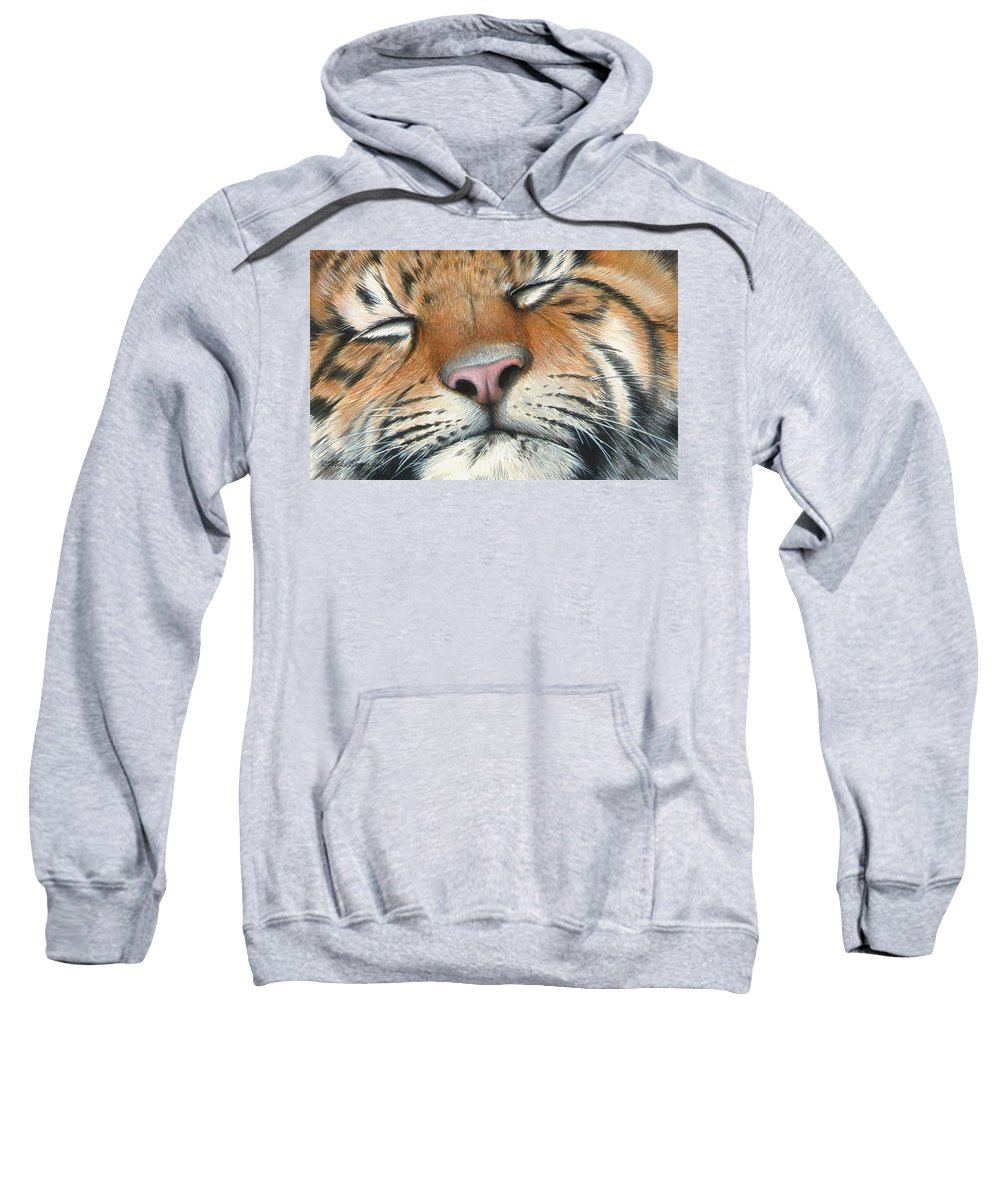 Tiger Sweatshirt featuring the painting Sleeping Beauty by Mike Brown