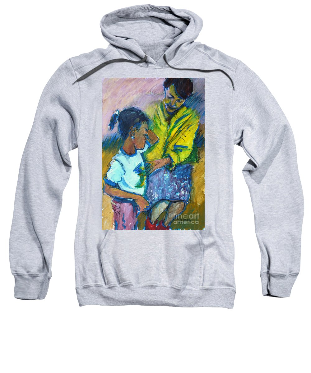 Child Sweatshirt featuring the painting Sleepy Tears				 by Charles M Williams