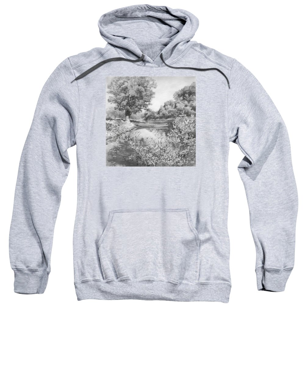 River Sweatshirt featuring the drawing Slow River by Denis Chernov