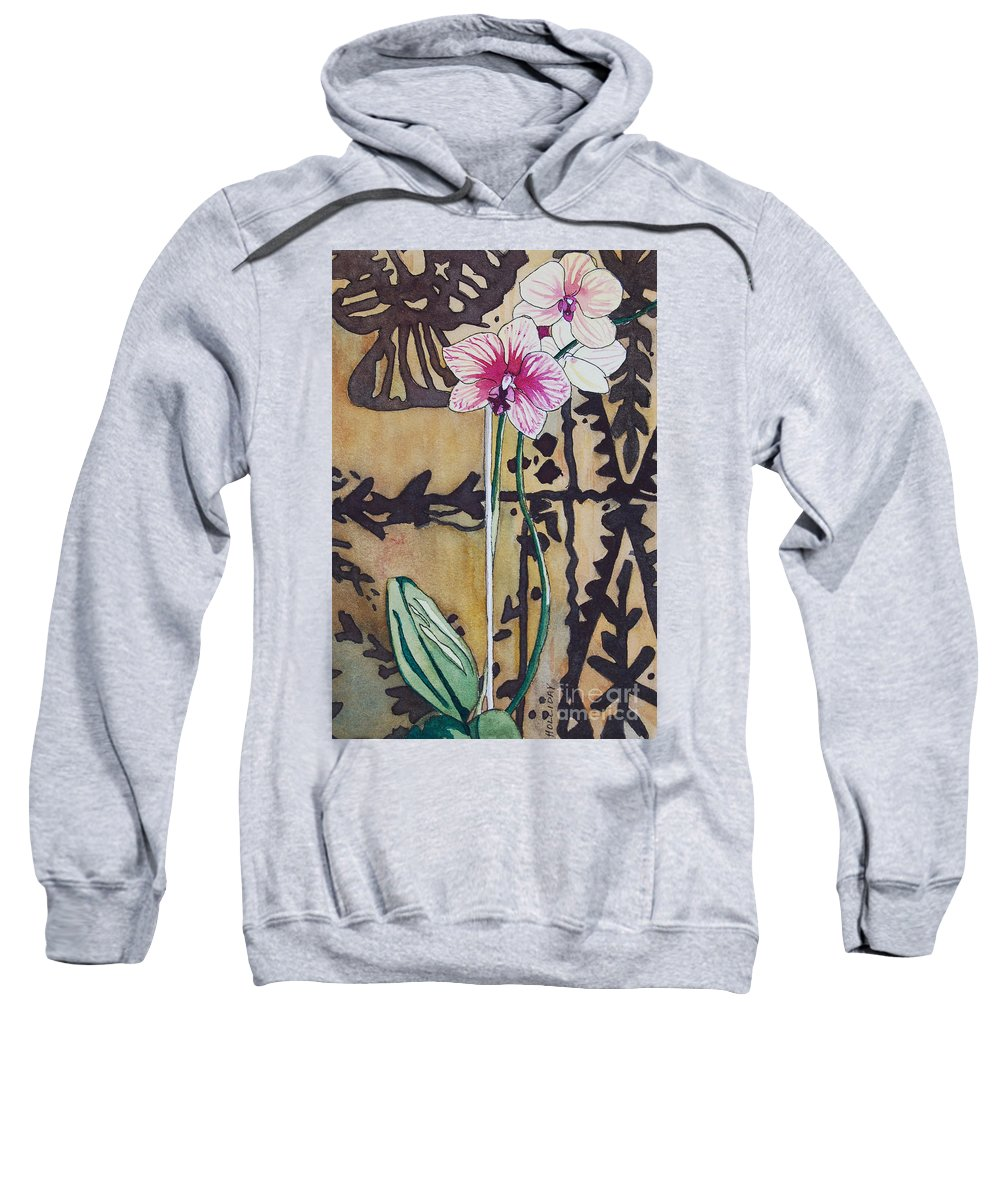 Orchids Sweatshirt featuring the painting Small Orchids by Terry Holliday