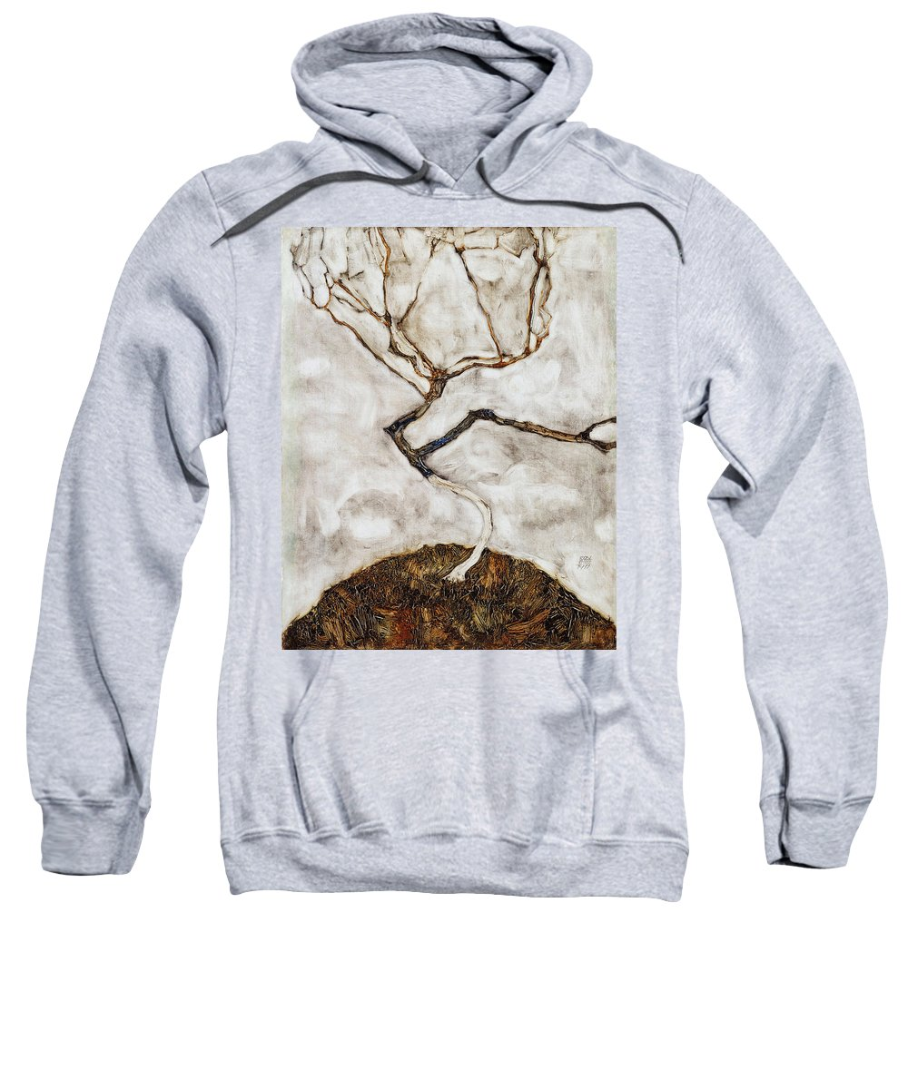 Egon Schiele Sweatshirt featuring the painting Small Tree In Late Autumn by Egon Schiele
