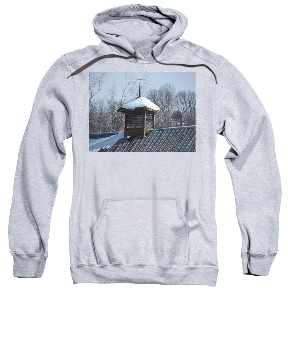 Elkader Iowa Sweatshirt featuring the photograph Snow Cupola by Bonfire Photography