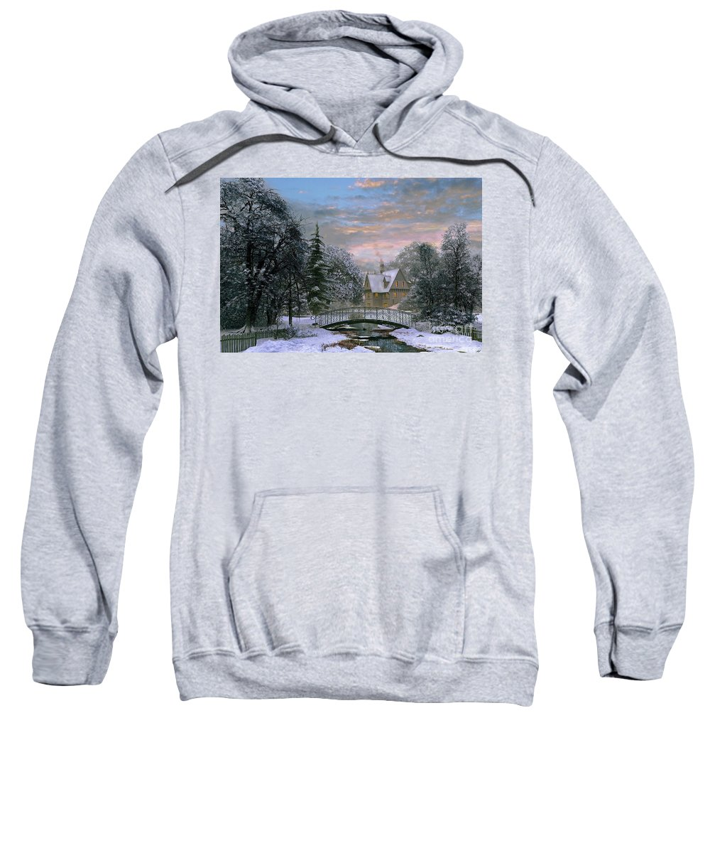 Dominic Davison Sweatshirt featuring the digital art Snow Scene Sunset by MGL Meiklejohn Graphics Licensing
