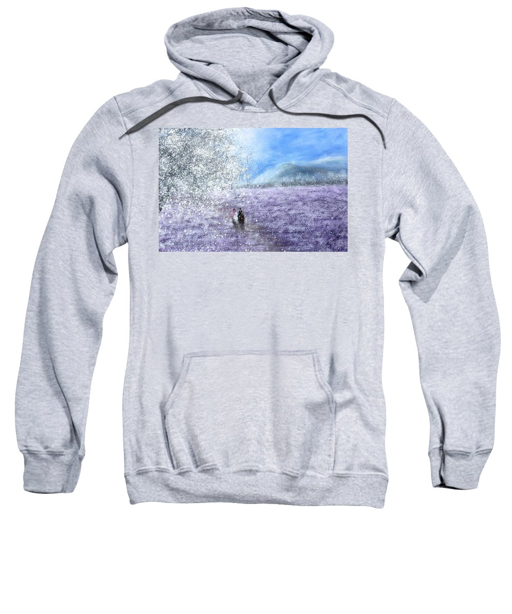 Landscape Sweatshirt featuring the painting Snow Tree by Kume Bryant