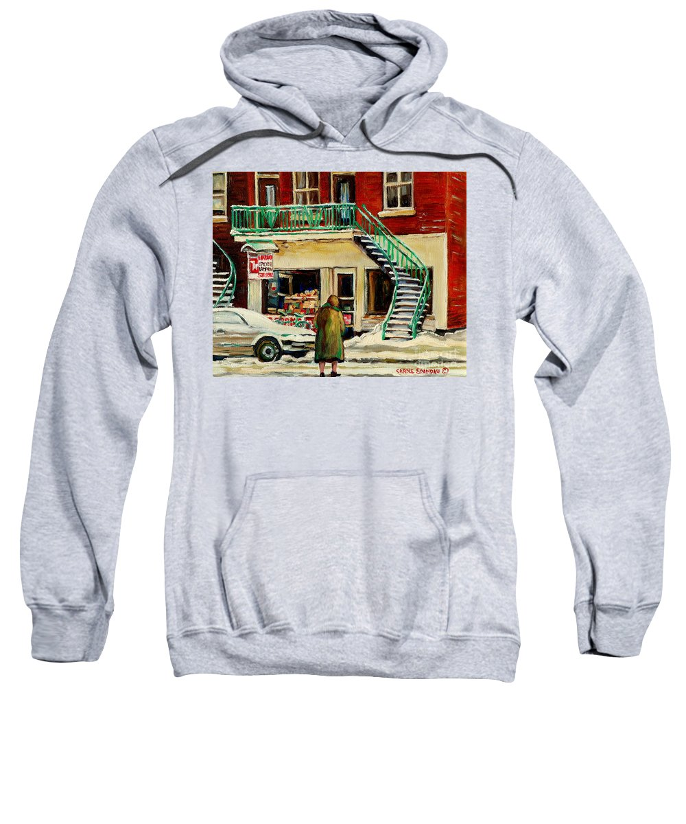Montreal Sweatshirt featuring the painting Snowing At The Five And Dime by Carole Spandau