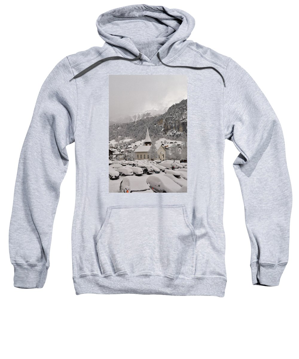 Lauterbrunnen Valley Sweatshirt featuring the photograph Snowing In The Valley by Felicia Tica