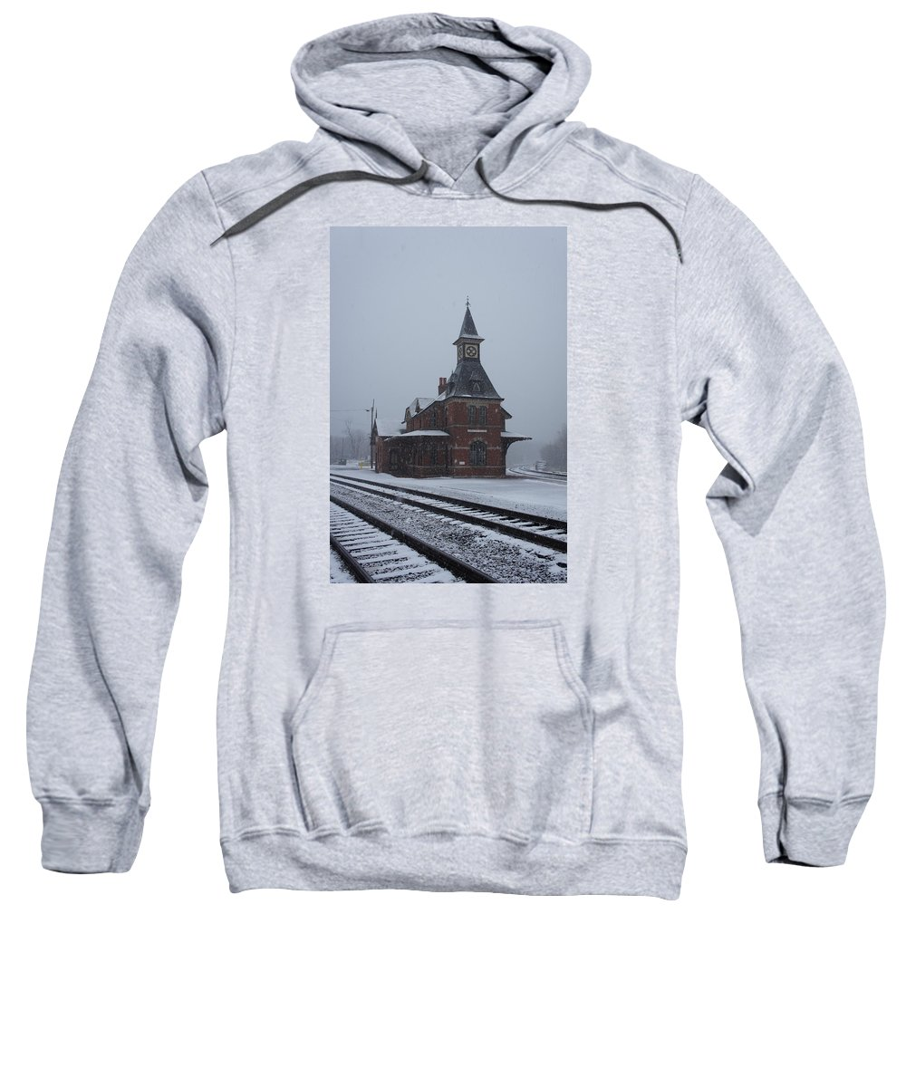 Snowing Point Of Rock Maryland Station B&o Sweatshirt featuring the photograph Snowing Point Of Rock by Bradley Dixon