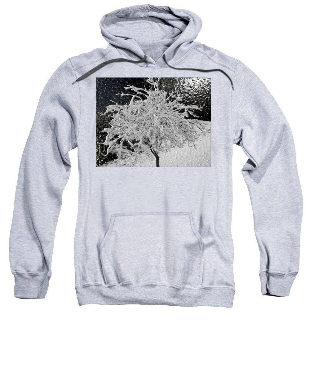 Snow Sweatshirt featuring the digital art Snowy Branches In Darkness by Michael Hurwitz
