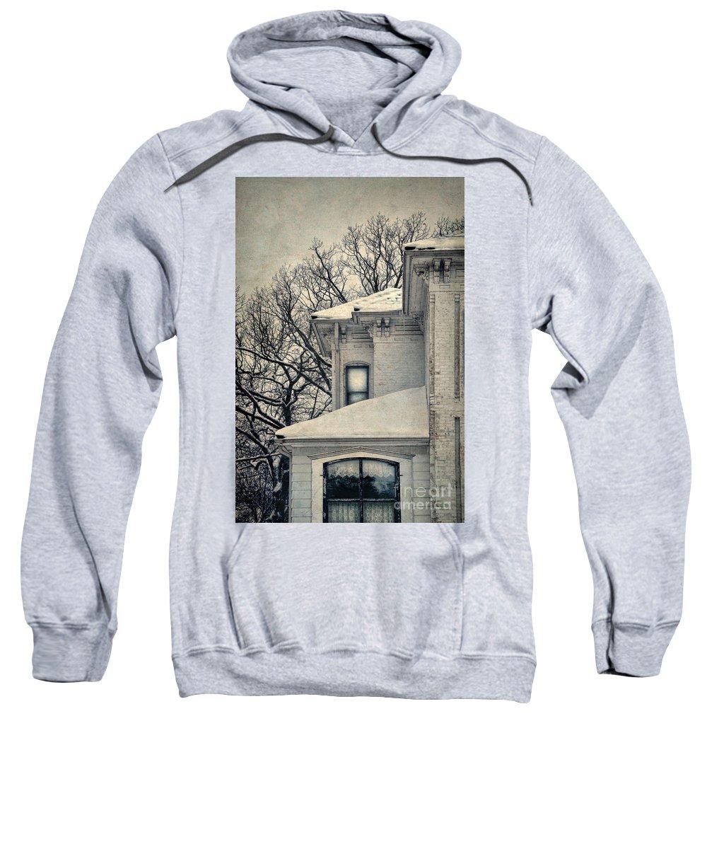 Rural Sweatshirt featuring the photograph Snowy Brick House by Jill Battaglia