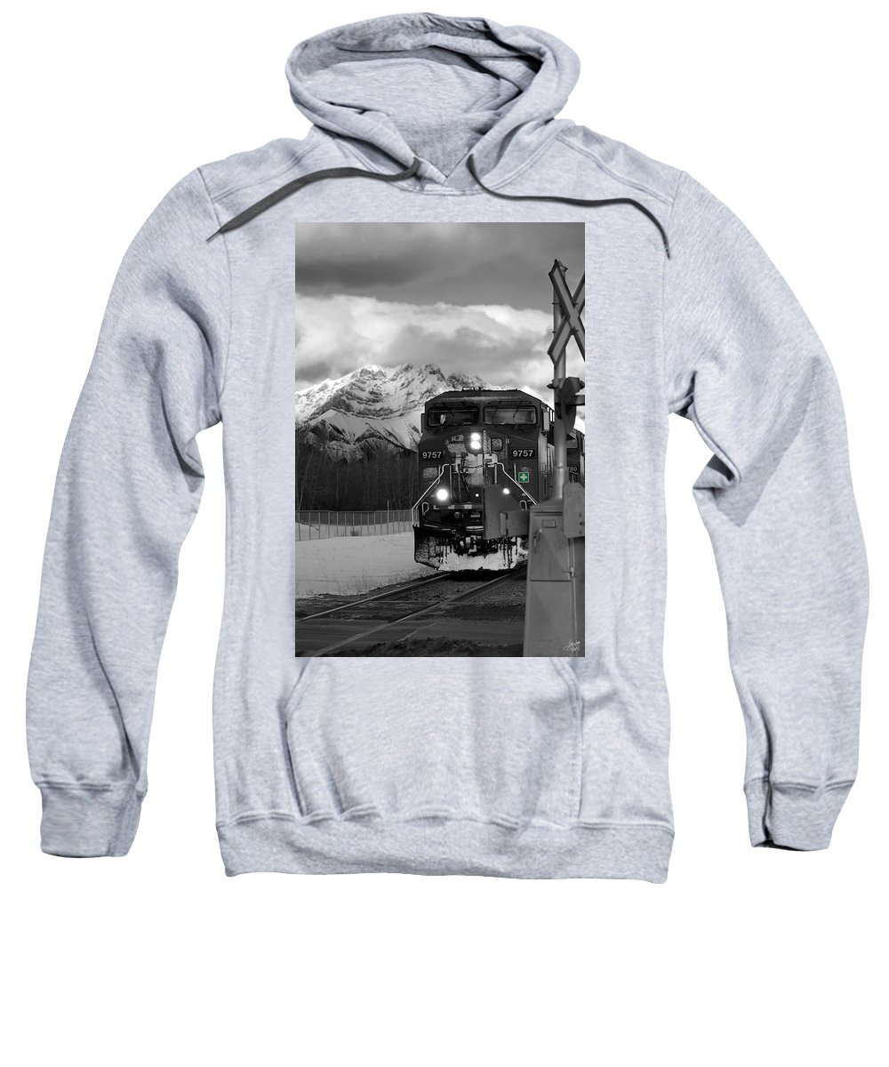 Rocky Mountains Sweatshirt featuring the photograph Snowy Engine Through The Rockies by Lisa Knechtel