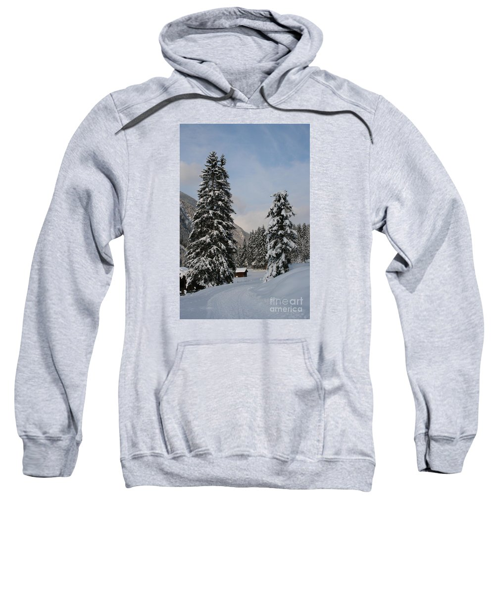 Snow Sweatshirt featuring the photograph Snowy Fir Trees by Christiane Schulze Art And Photography