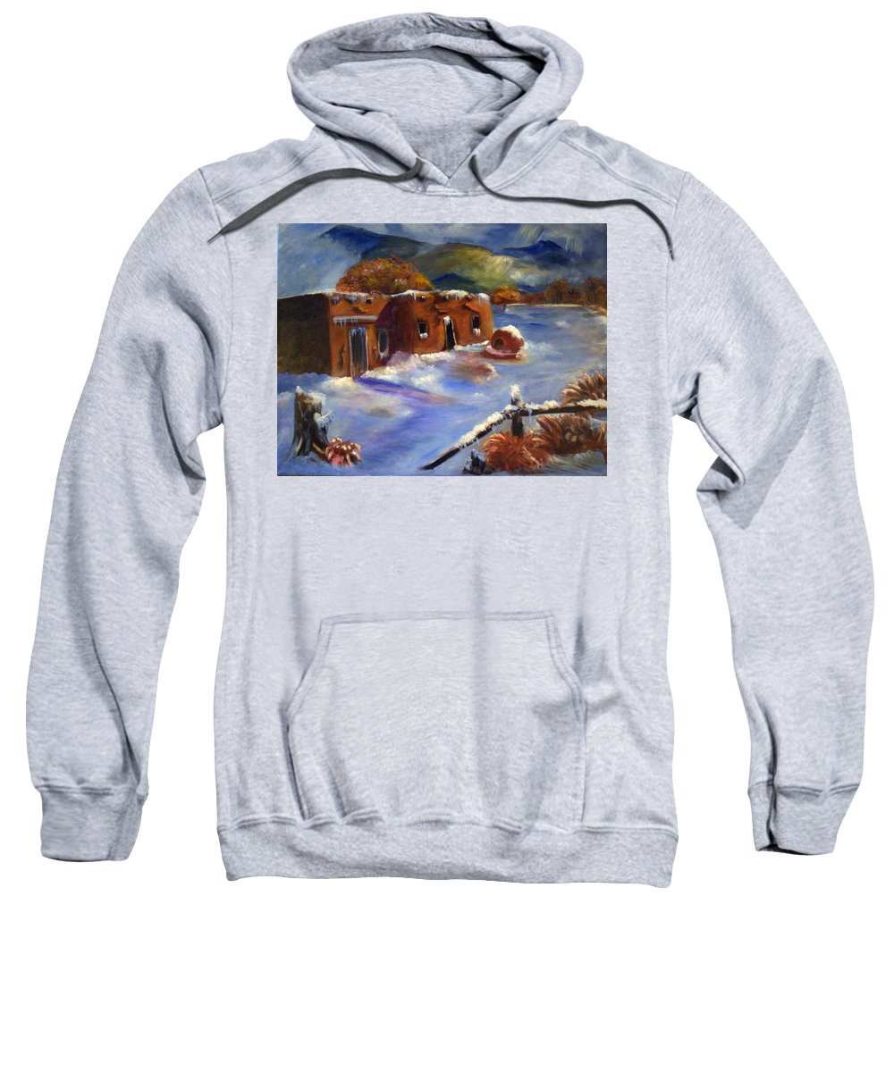 Snow Sweatshirt featuring the painting Snowy Morning by Sue Stake