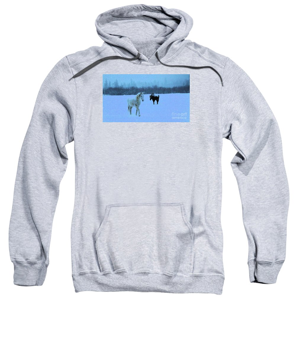 Horses Sweatshirt featuring the photograph Snowy Walk by Roland Stanke