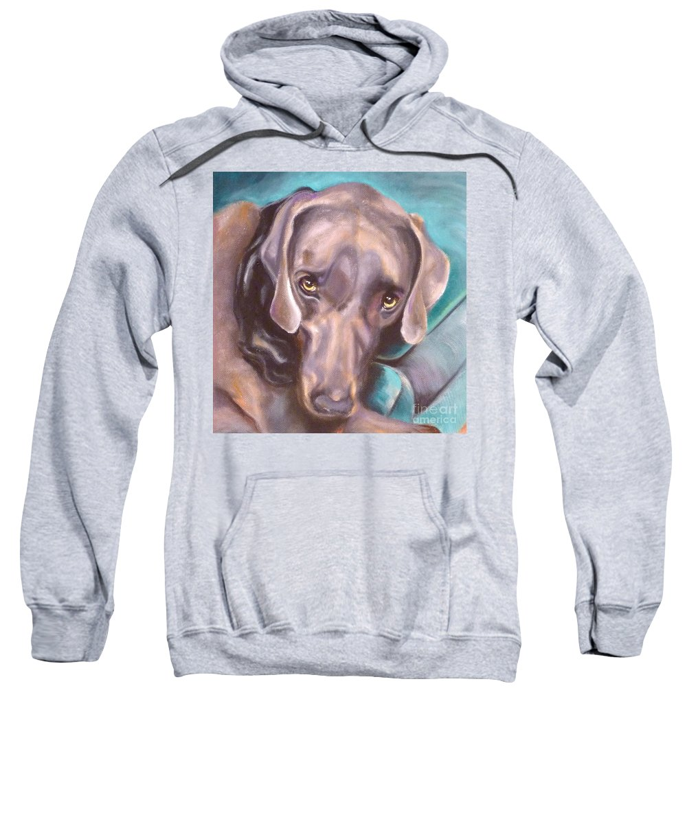 Dog Sweatshirt featuring the painting Sofa Serenade by Susan A Becker