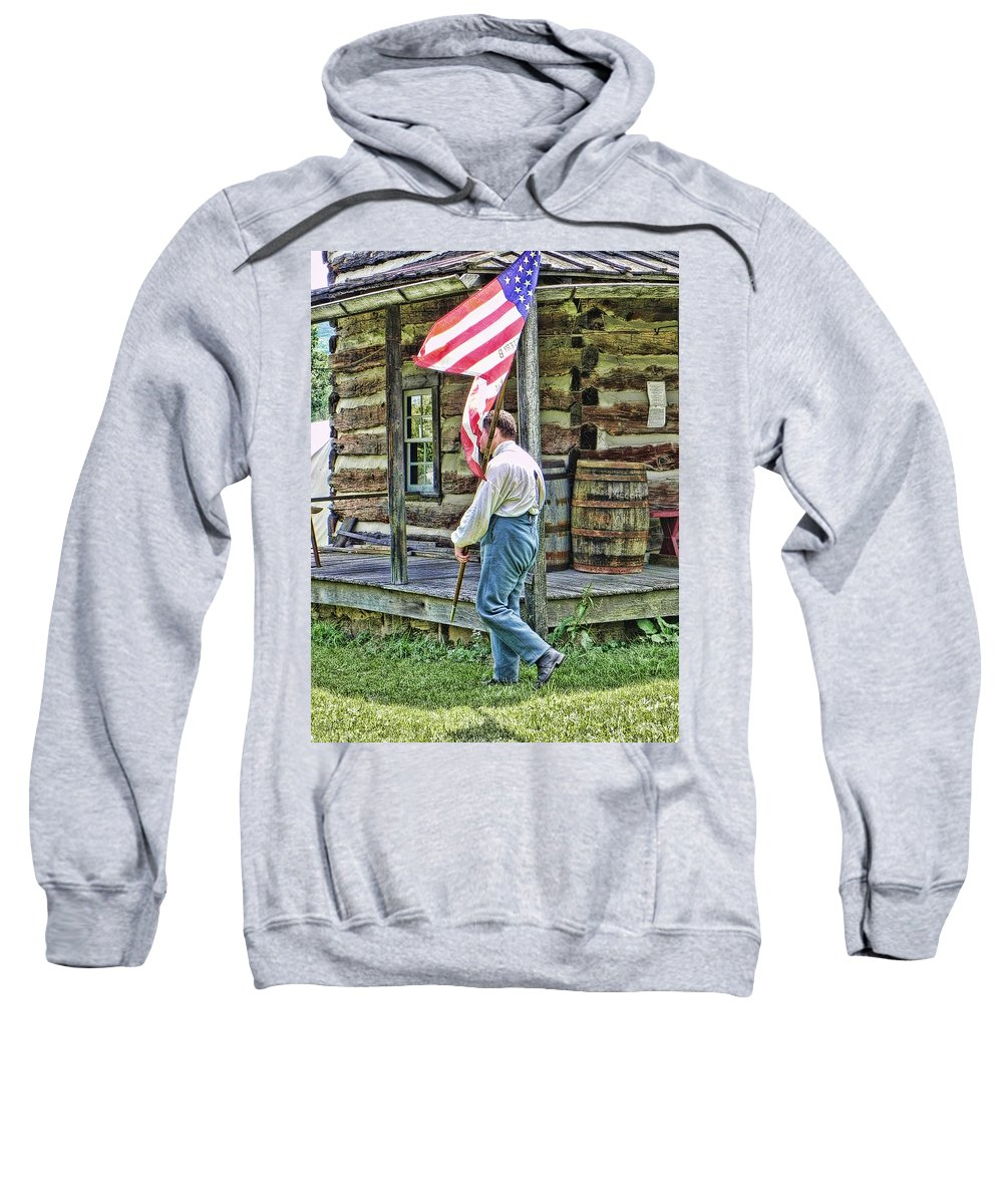 Soldier Sweatshirt featuring the photograph Soldier At Bedford Village Pa by Kathy Churchman