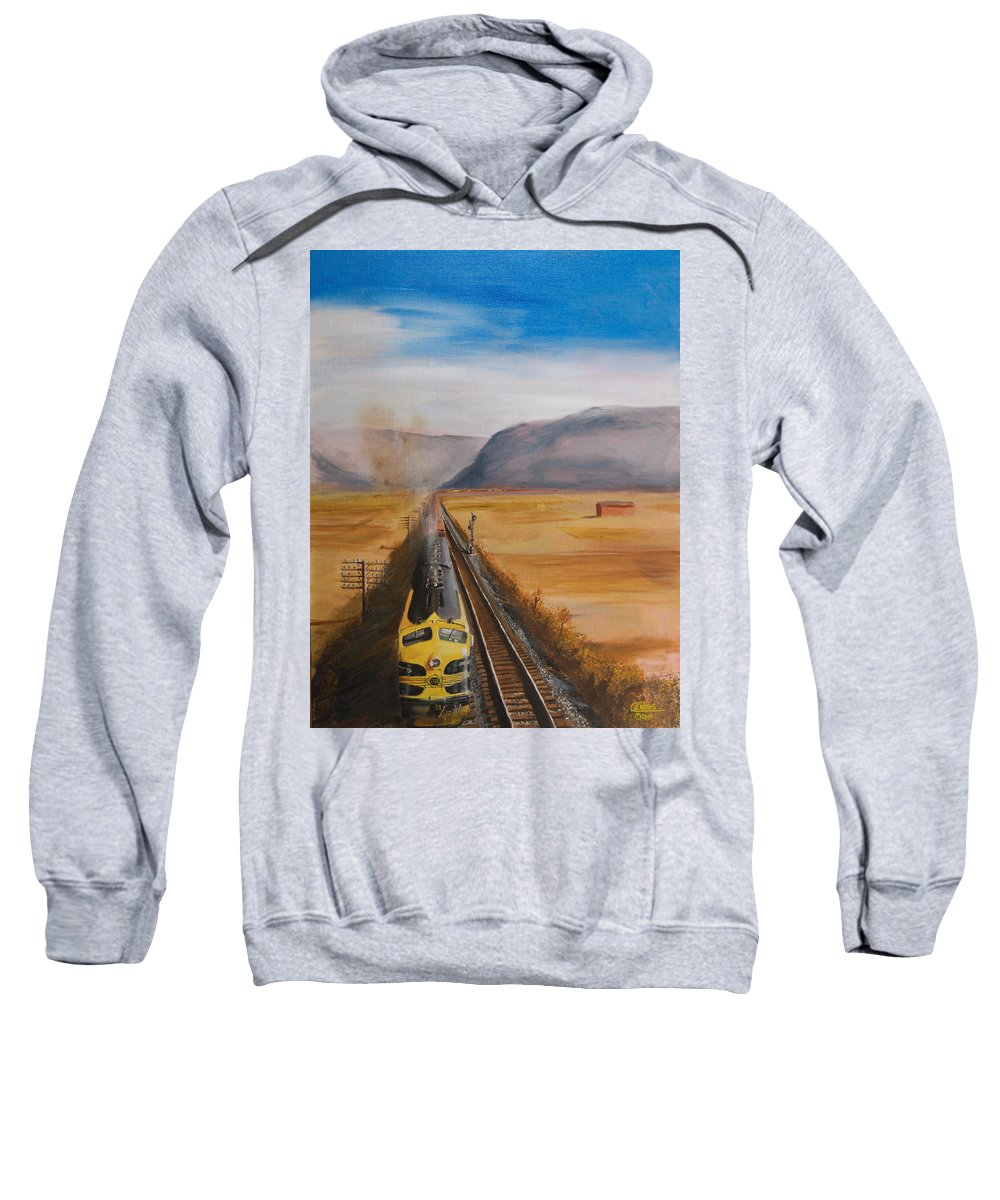 Train Sweatshirt featuring the painting Somewhere West Of Corning by Christopher Jenkins