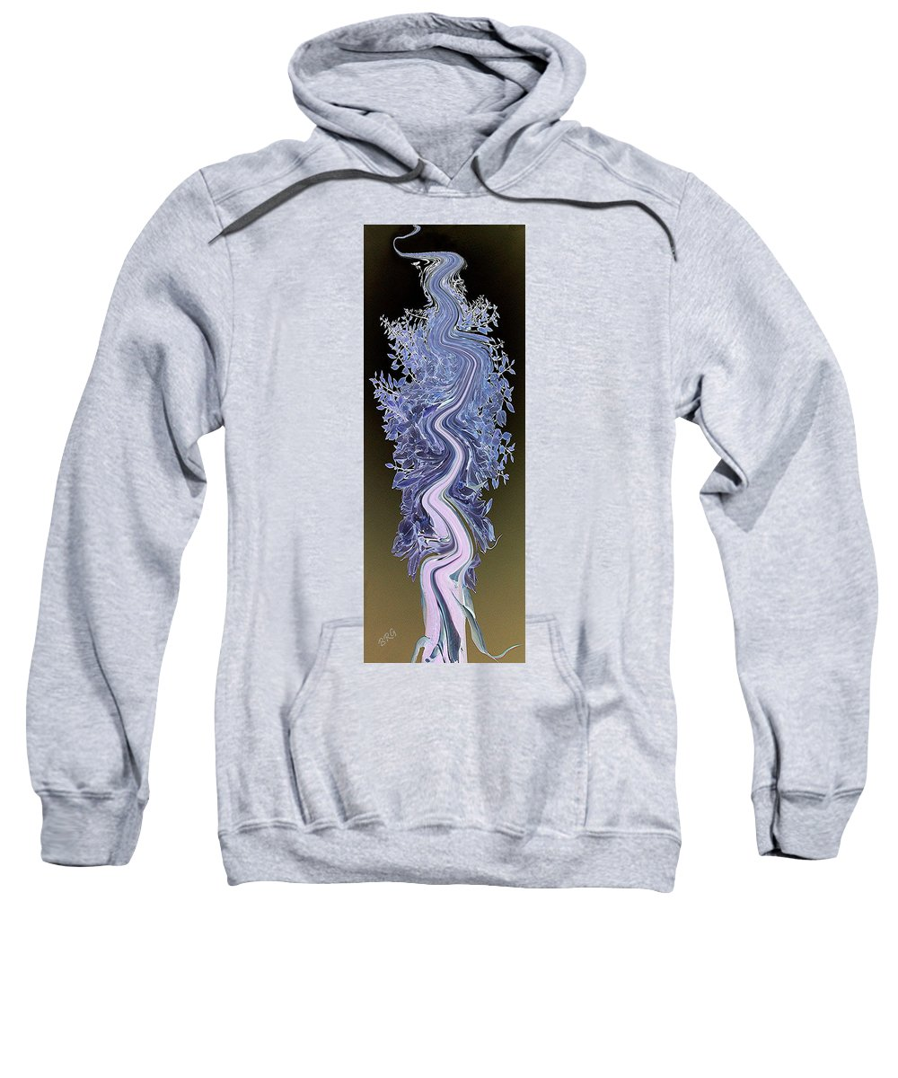 Blue Sweatshirt featuring the digital art Song - Yucca Flower by Ben and Raisa Gertsberg