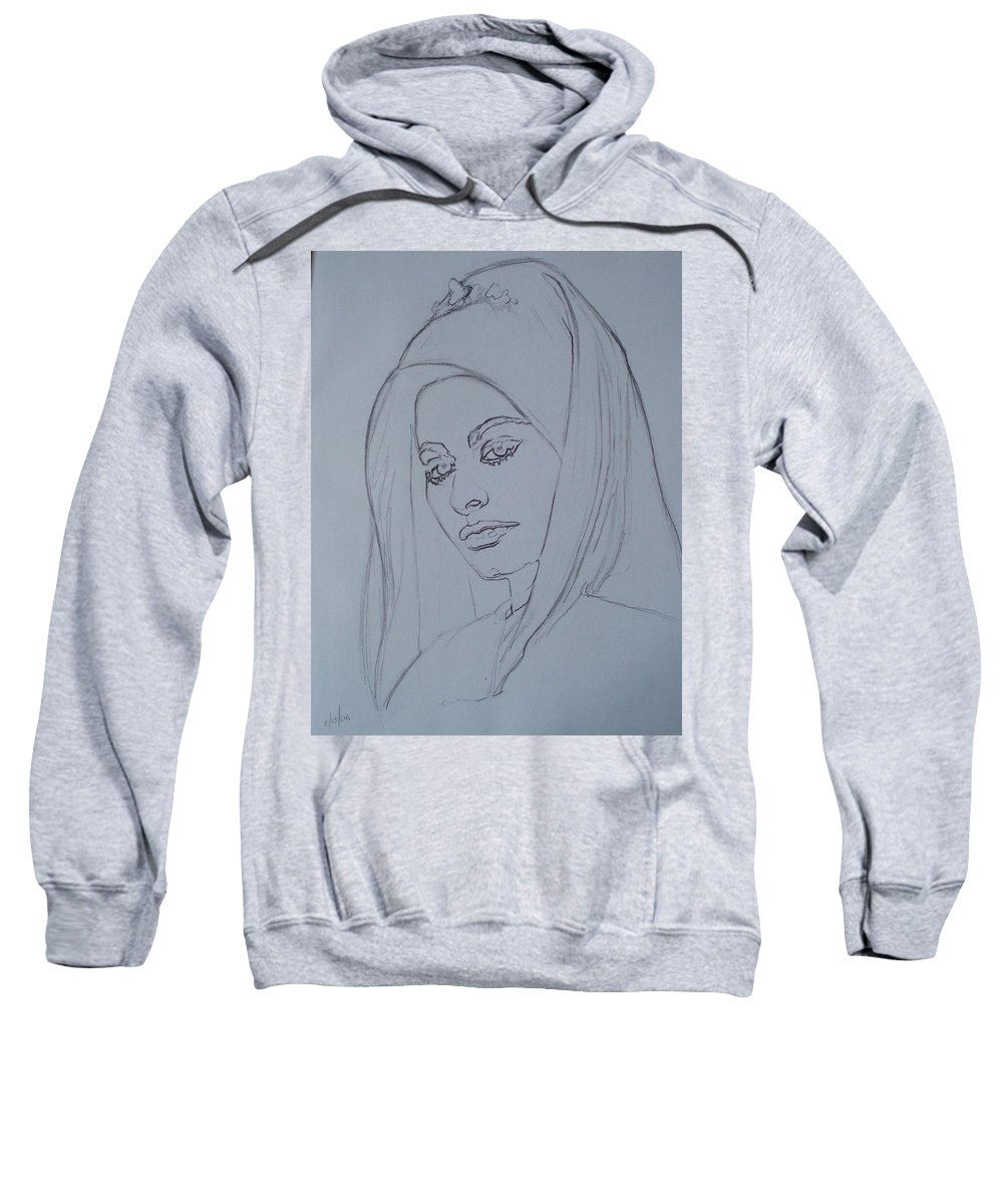Woman Sweatshirt featuring the drawing Sophia Loren In Headdress by Sean Connolly