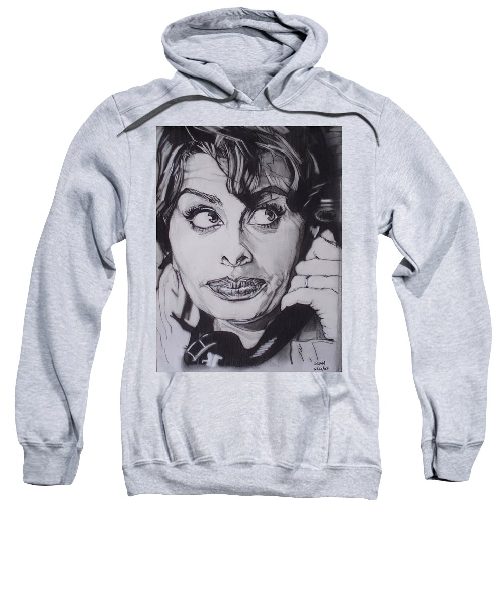 Charcoal;icon;actress;diva;italian;cat Eyes;beautiful;cute;adorable Sweatshirt featuring the drawing Sophia Loren Telephones by Sean Connolly