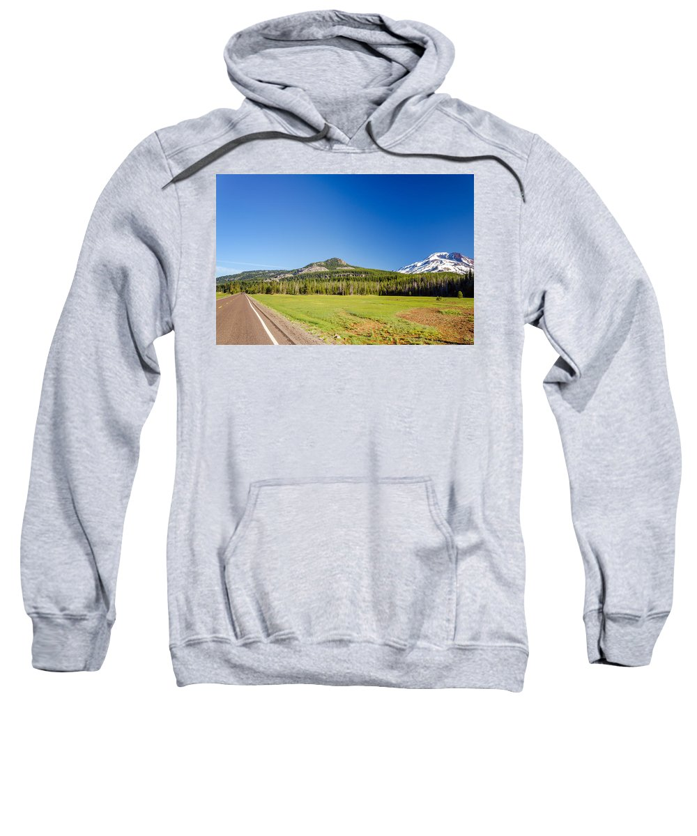 Road Sweatshirt featuring the photograph South Sister And Highway by Jess Kraft