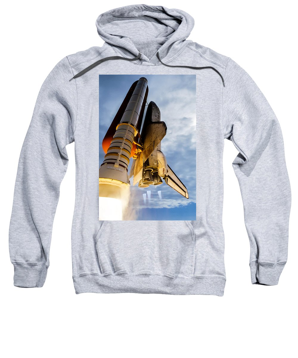 Space Shuttle Sweatshirt featuring the photograph Space Shuttle Discovery by Chad Rowe