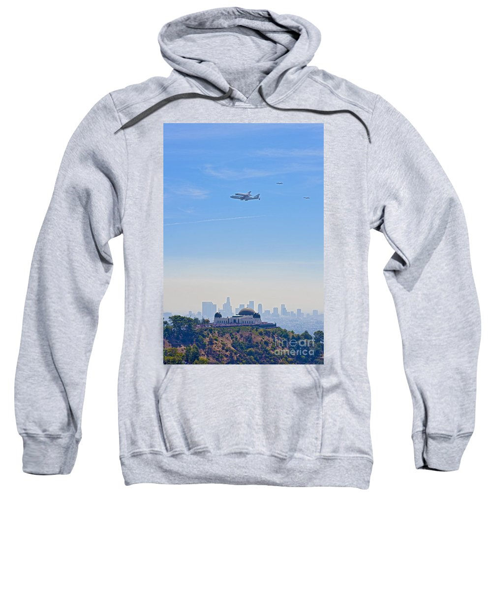 Space Shuttle Endeavour Over Los Angeles Ca Sweatshirt featuring the photograph Space Shuttle Endeavour And Chase Planes Over The Griffith Observatory by David Zanzinger