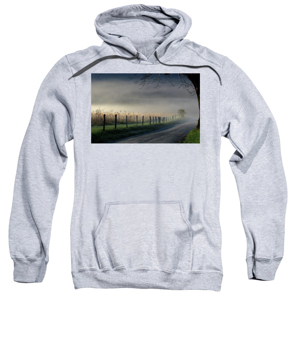 Fence Sweatshirt featuring the photograph Sparks Lane Sunrise by Douglas Stucky