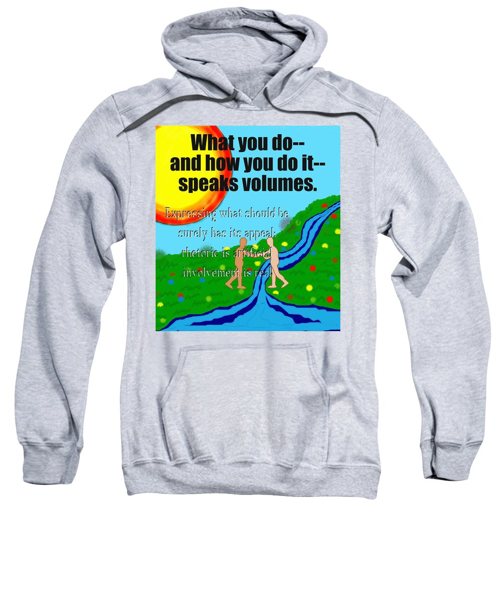 Action Sweatshirt featuring the painting Speaks Volumes by Pharris Art