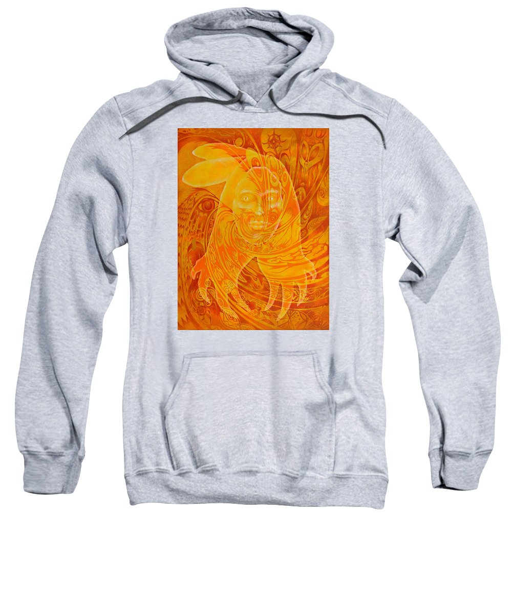 Native American Sweatshirt featuring the painting Spirit Fire by Kevin Chasing Wolf Hutchins