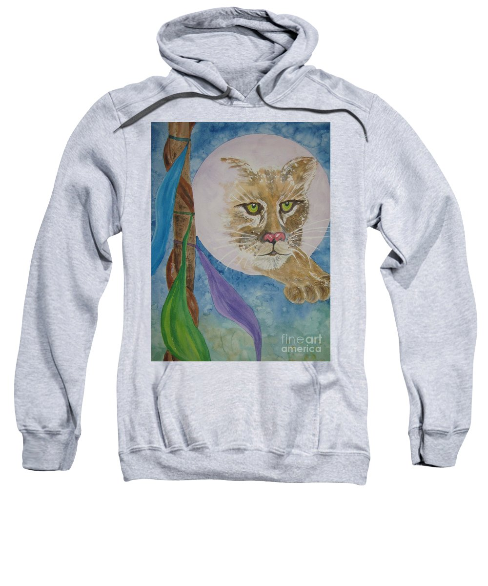 Cougar Sweatshirt featuring the painting Spirit Of The Mountain Lion by Ellen Levinson