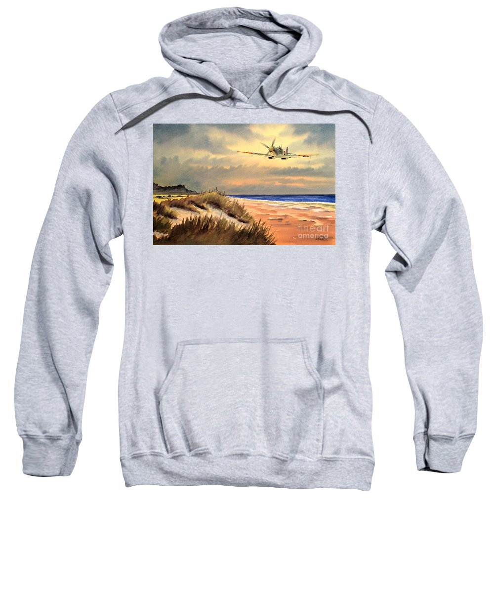 Aircraft Sweatshirt featuring the painting Spitfire Mk9 - Over South Coast England by Bill Holkham