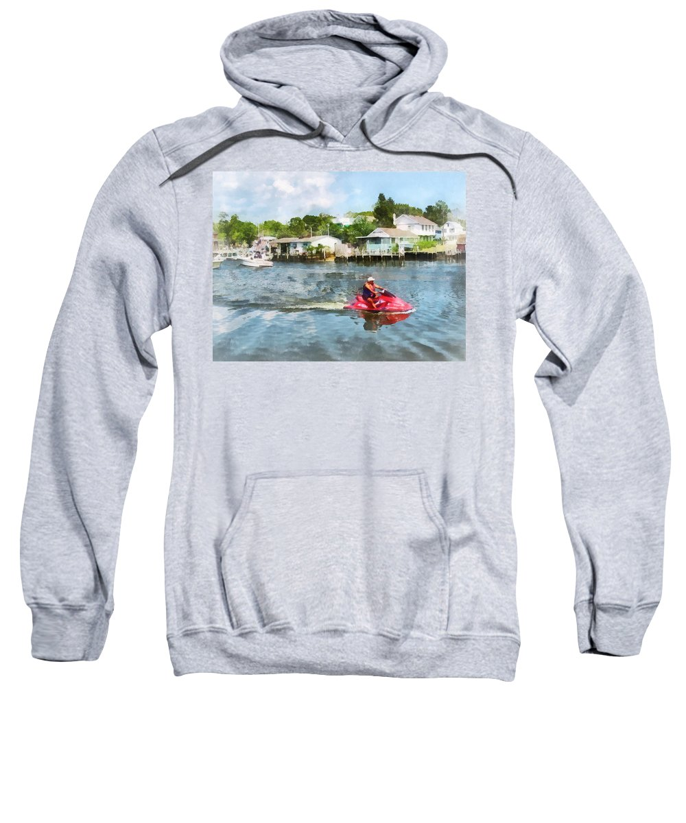Watersport Sweatshirt featuring the photograph Sports - Man On Jet Ski by Susan Savad