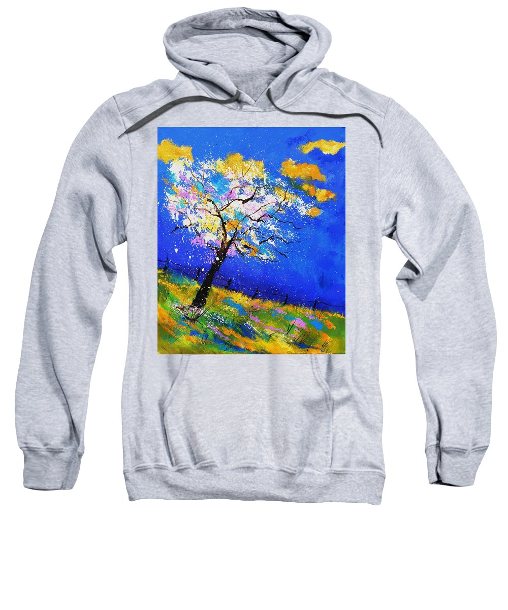 Original Oil On Canvas Stretched On A Wooden Frame Sweatshirt featuring the painting Spring 563140 by Pol Ledent
