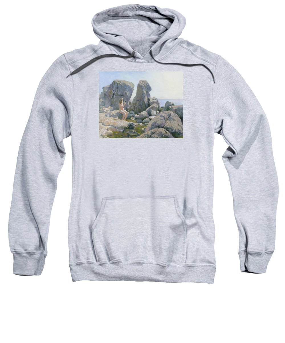 Rocks Sweatshirt featuring the painting Spring At The Rock Shore by Denis Chernov