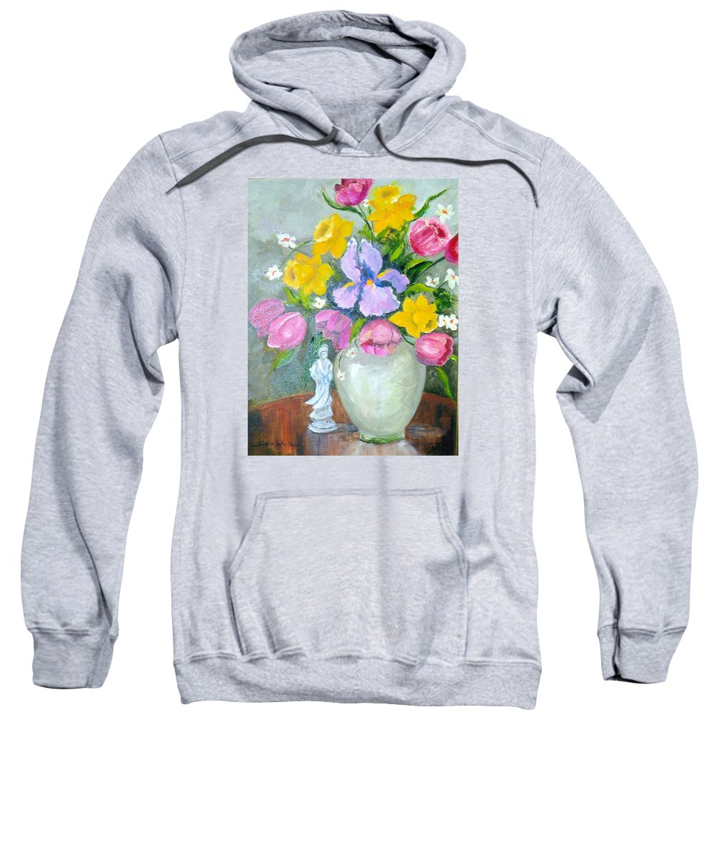 Tulip Sweatshirt featuring the painting Spring Blooms by Judie White