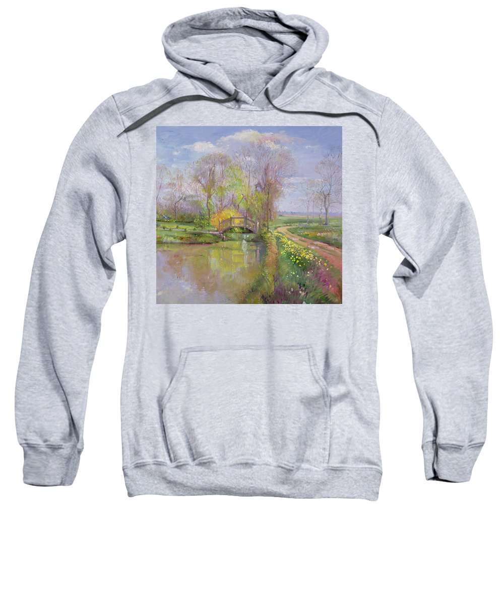 Path; Landscape; River; Countryside; Rural Sweatshirt featuring the painting Spring Bridge by Timothy Easton