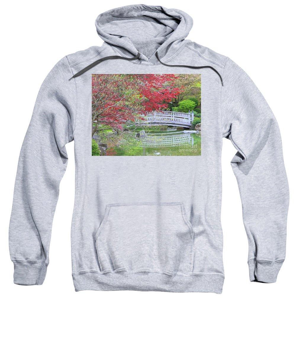 Japanese Garden Sweatshirt featuring the photograph Spring Color Over Japanese Garden Bridge by Carol Groenen