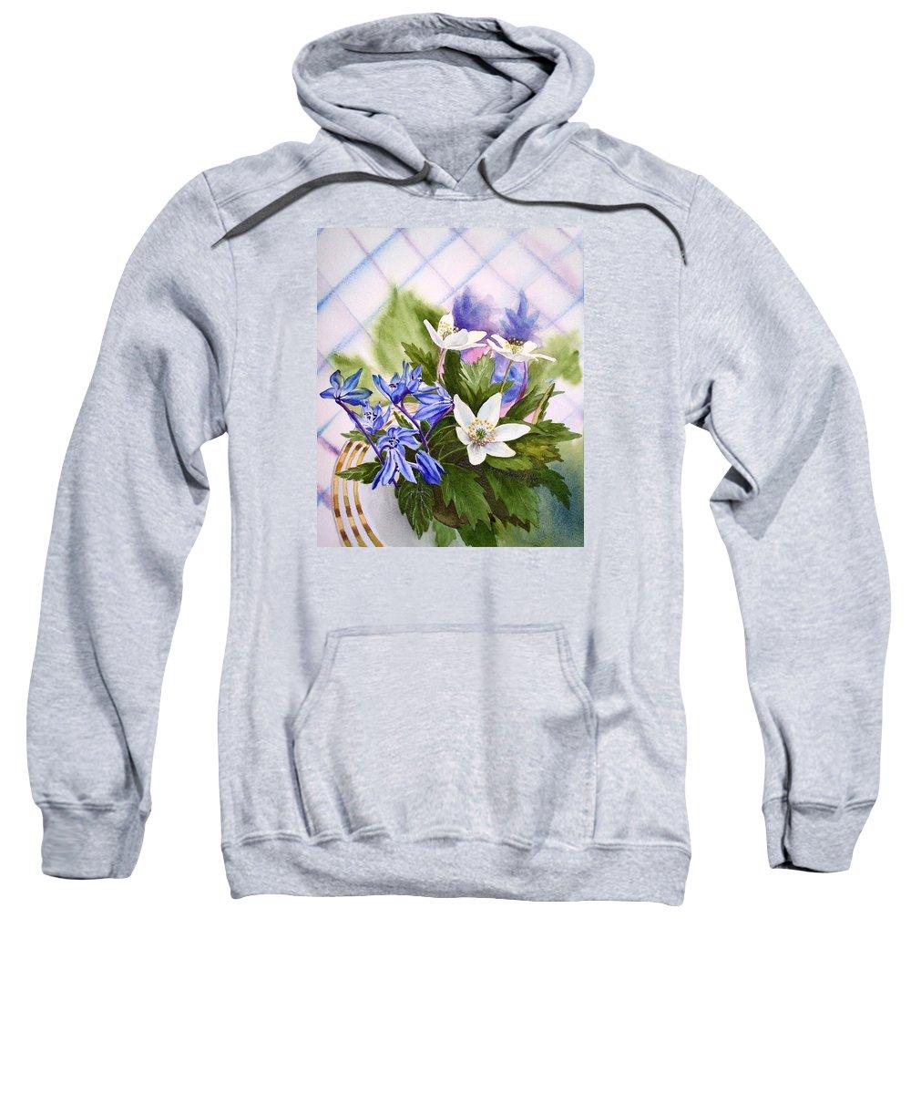 Flowers Sweatshirt featuring the painting Spring Flowers by Irina Sztukowski