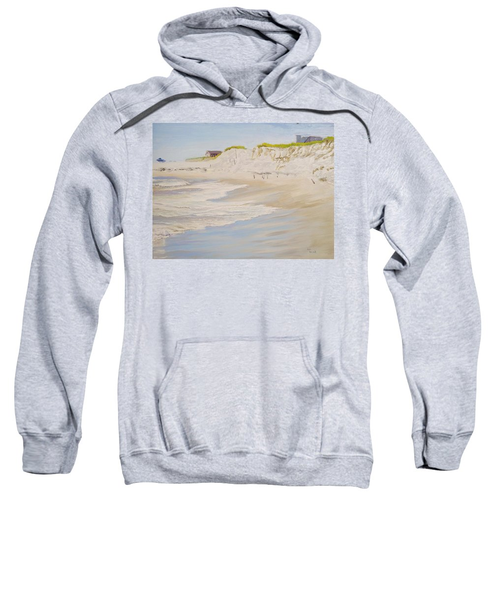 Seascape Sweatshirt featuring the painting Spring Tide After Sandy by Lea Novak