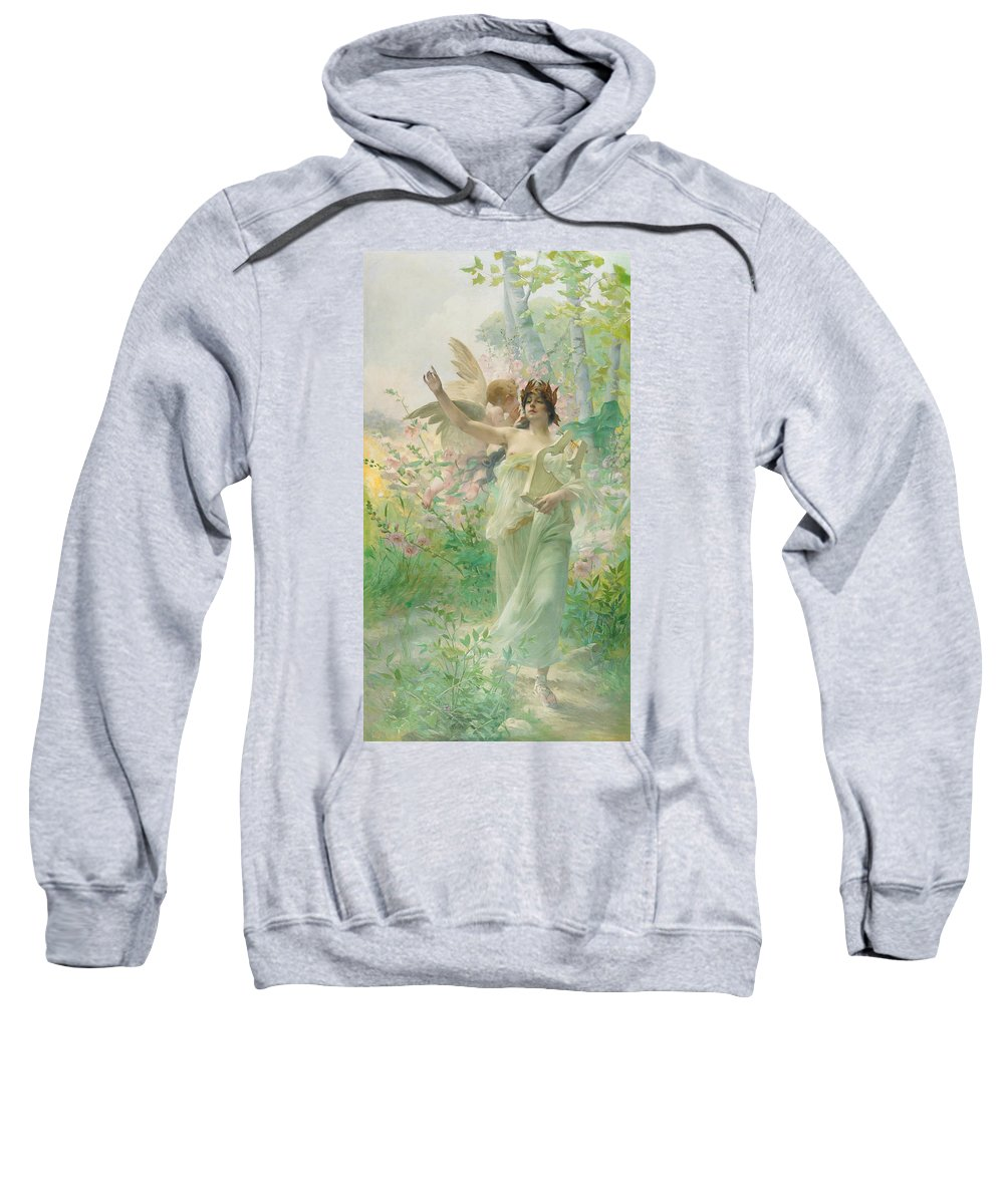 Springtime Allegory Sweatshirt featuring the painting Springtime Allegory by Paul Francois Quinsac