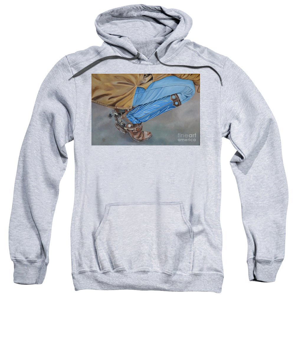 Art Sweatshirt featuring the painting Spur Squatting by Mary Rogers