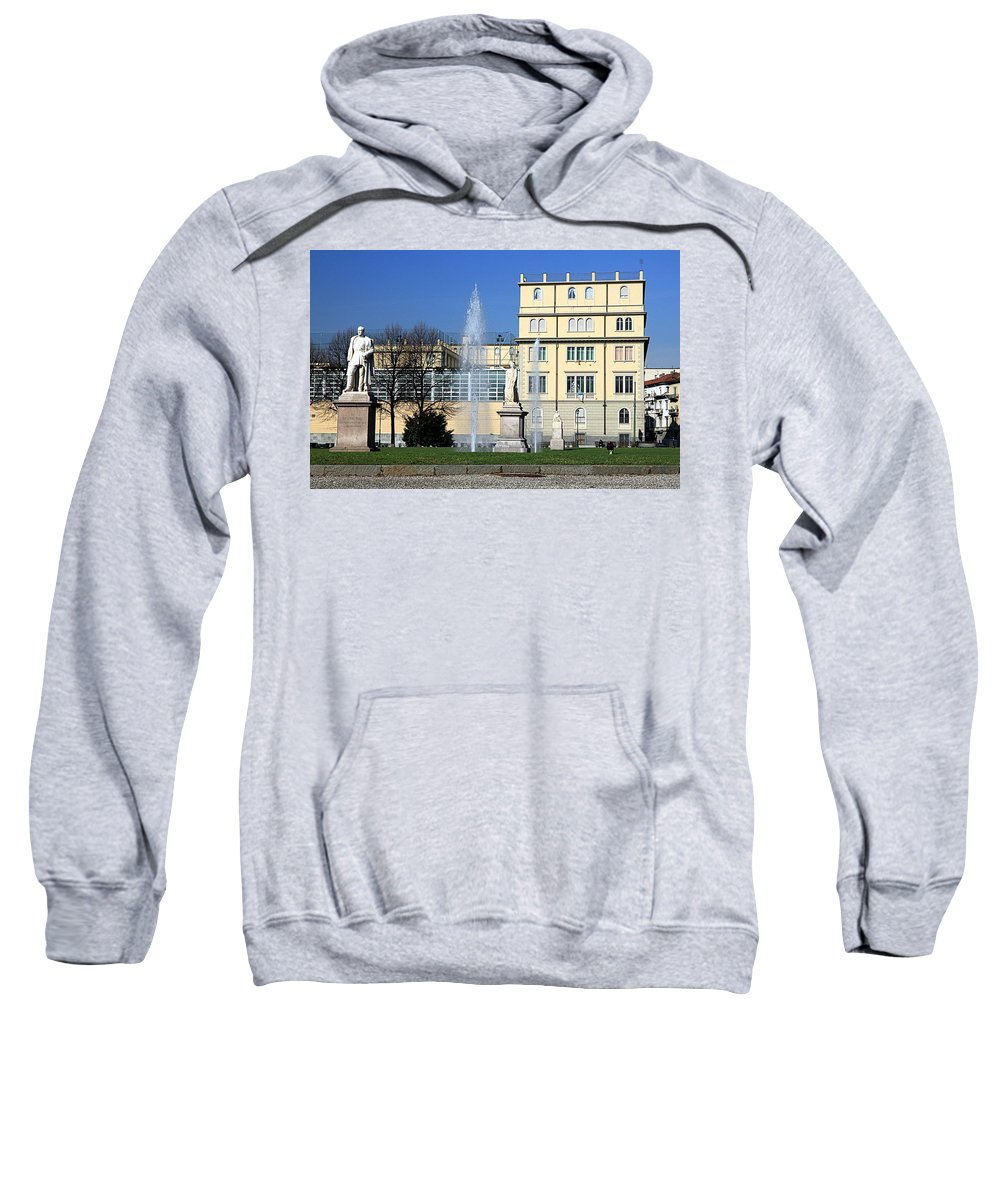 Square Sweatshirt featuring the photograph Square And Statues by Valentino Visentini