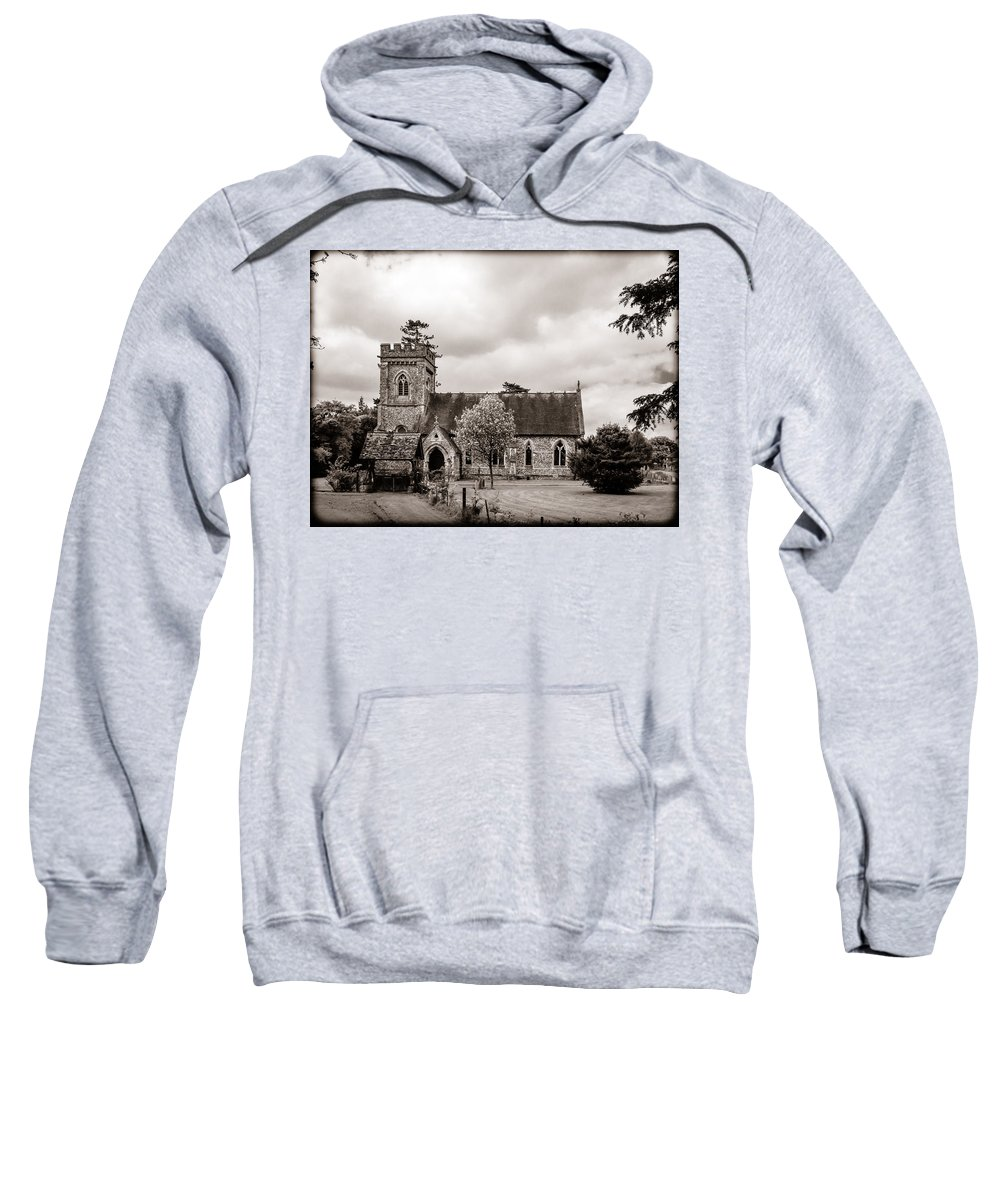 Aisle Sweatshirt featuring the photograph St Barnabas Faccombe by Mark Llewellyn